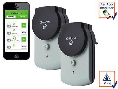 2x Außen WiFi Steckdose App Steuerung Android + iOS, Funksteckdose Zeitschaltuhr