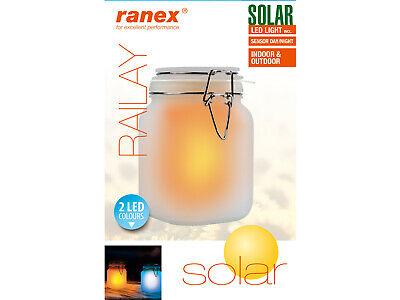 2-farbige Solarlampe im Einmachglas Sonnenlicht Glas Solar Leuchte Tischleuchte