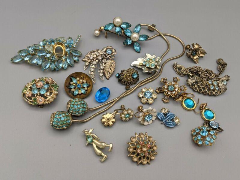 Lot Vintage Rhinestone Jewelry For Repair Craft Wear Wedding Blue
