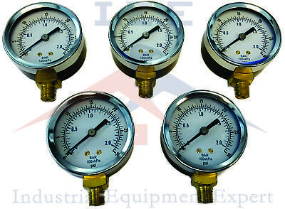 5 Pack Air Compressor Pressure Gauge 2 Face Side Mt 18 Npt 0-30 Psi