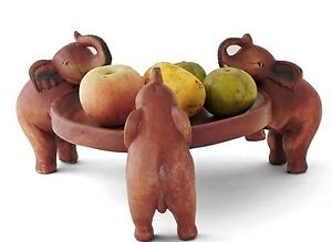 Wooden Elephant Carving - Trinket Coin Tray Fruit Bowl Plant Stand Serving Dish