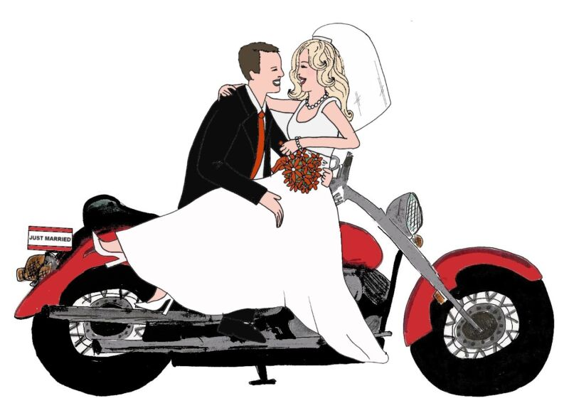 Marriage wedding Personalized BIKER BRIDAL CARDS gift cute UNIQUE