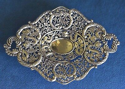 Antique HUNG CHONG Chinese Export Silver Dragon Pierced CALLING CARD TRAY As Is
