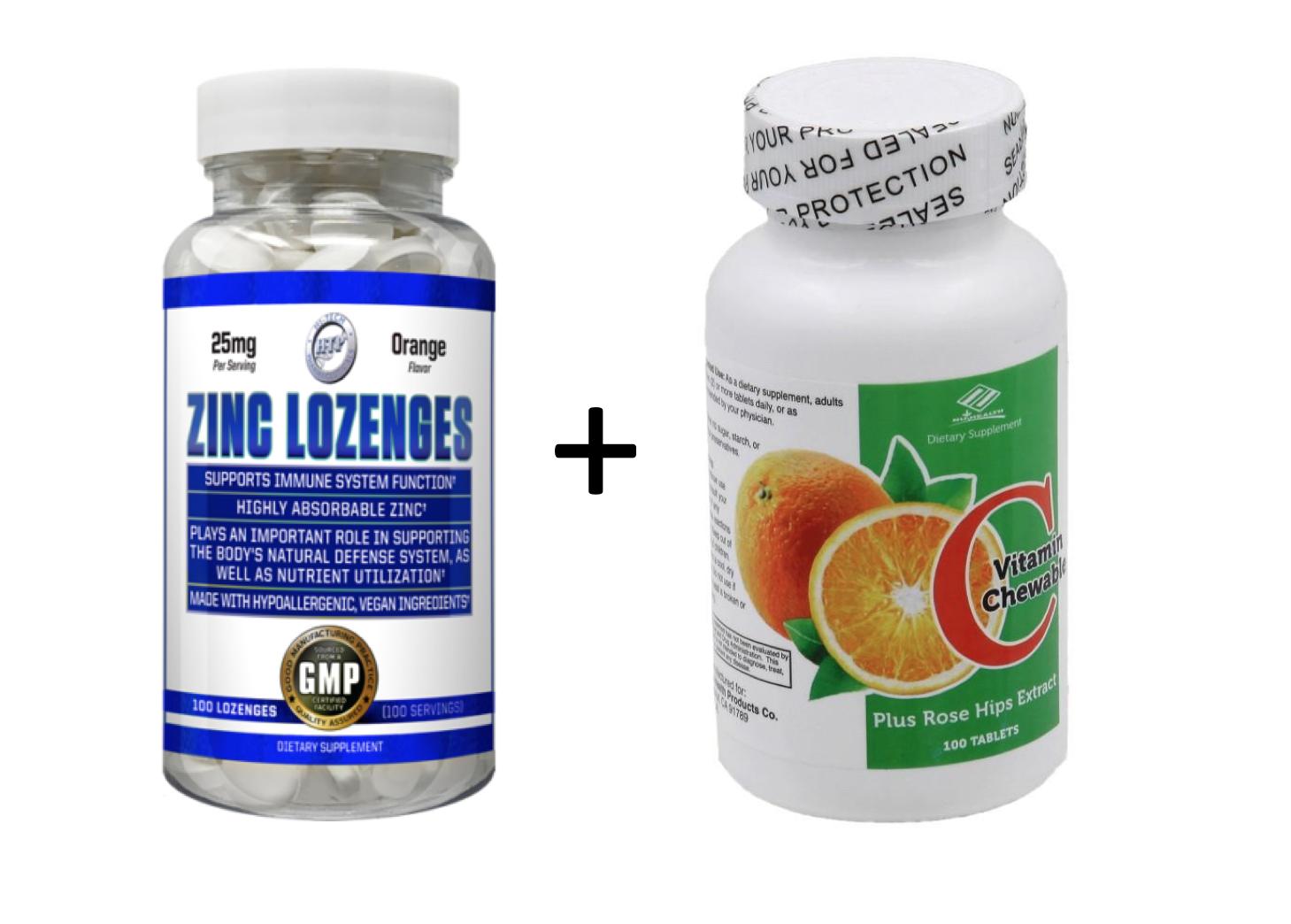 Chewable Vitamin C 1000mg + Zinc Lozenges 50mg 200 Tablets Total Orange Flavor