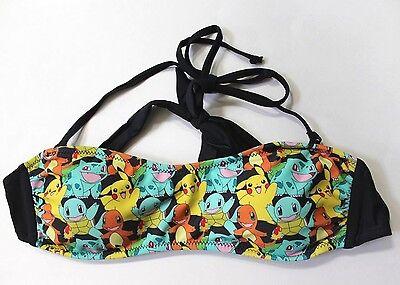 Pokemon Print Strappy Halter Neck Swim Top Bandeau Size L Multicolors