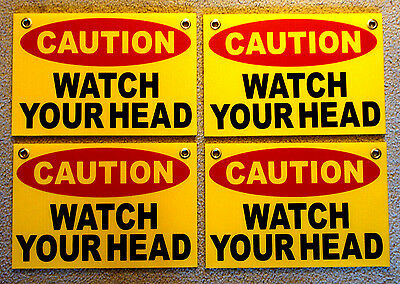 4 Caution Watch Your Head Coroplast Signs With Grommets 8x12 Yellow