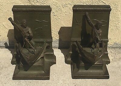 "ANTIQUE BRONZE ? JB JENNINGS BROTHERS BOOK ENDS "" A DEAD WHALE OR A STOVE BOAT """