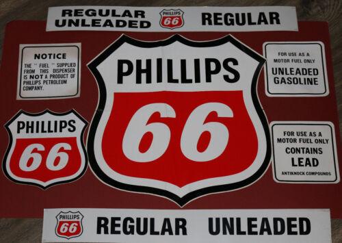 ORIGINAL VINTAGE Phillips 66 sticker/decal kit for gas pump/station (7) pieces