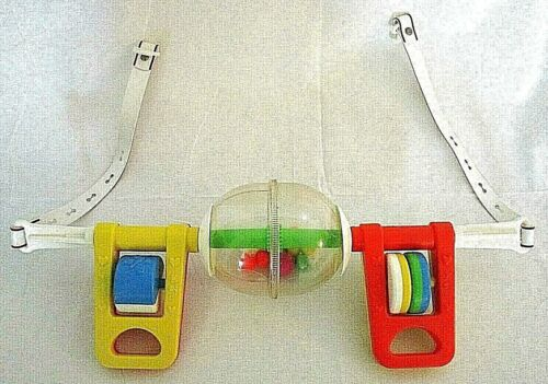 Vintage 1984 Fisher Price Hanging Crib Activity Toy Rattles Balls Spins Baby NUC