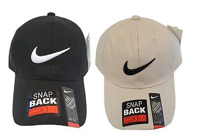 Original Nike SWOOSH Logo Baseball Cap Adjustable Golf Sorts Gym STONE BLACK