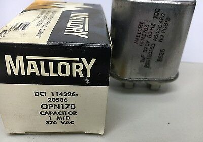 Mallory Capacitor 114326-20596 Opn170 1 Mfd 370 Vac