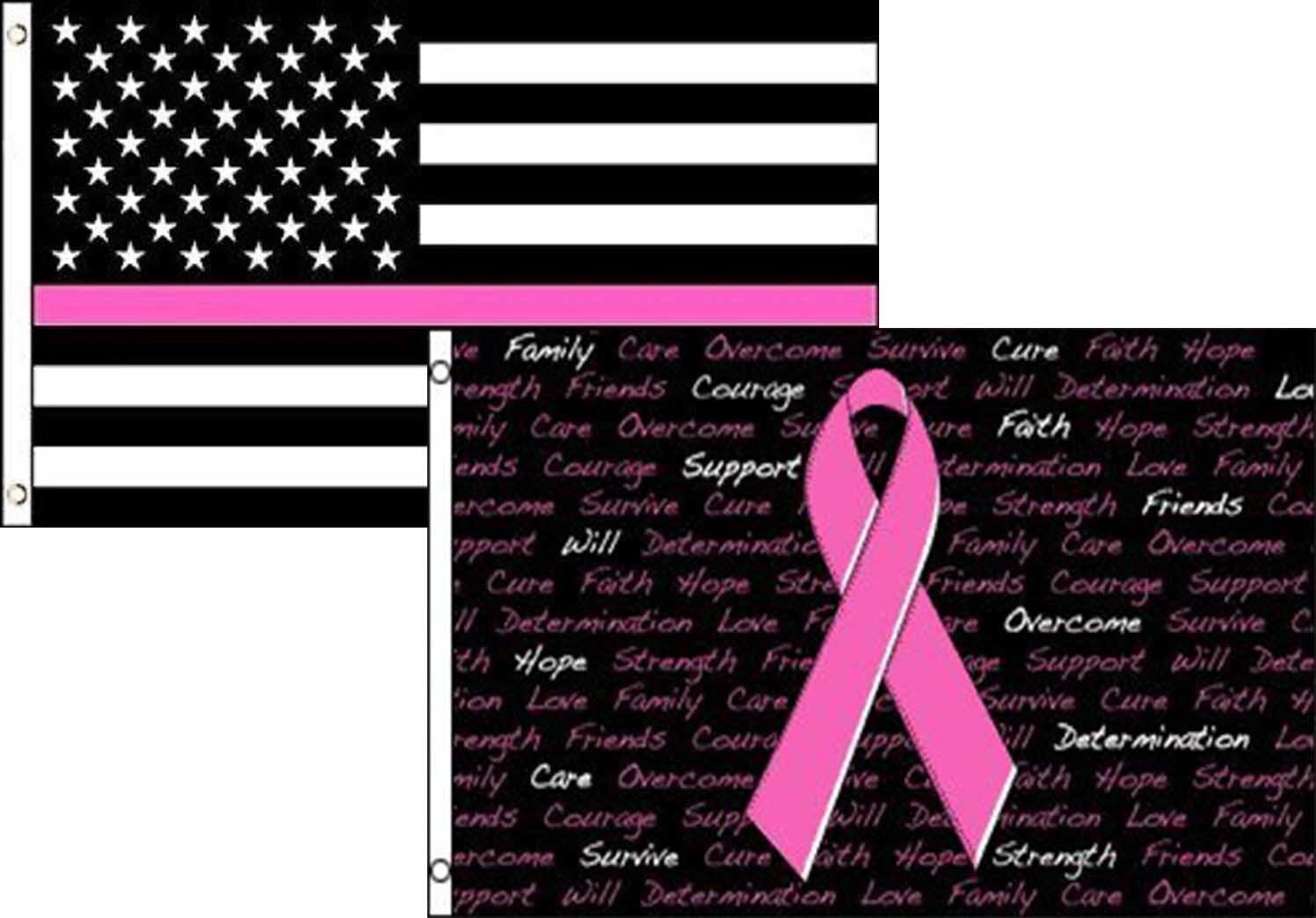 3x5 USA Thin Pink Line Breast Cancer Ribbon 2 Pack Flag Whol