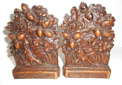 Vintage Syroco Book Ends Oak Tree and Acorns High Relief Bookends   for sale  Youngstown