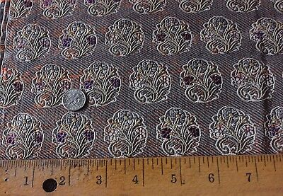 Antique Persian 19thC Silk & Silver Metallic Brocade Handloomed Textile Fabric