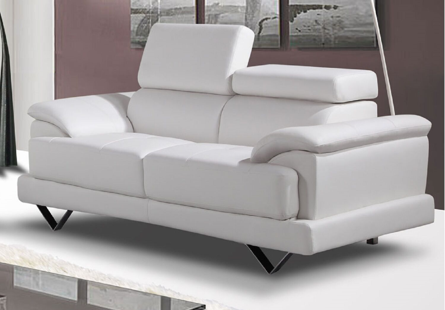 Cosmo white bonded leather 2 seater sofa ebay for Leather sofa 7 seater