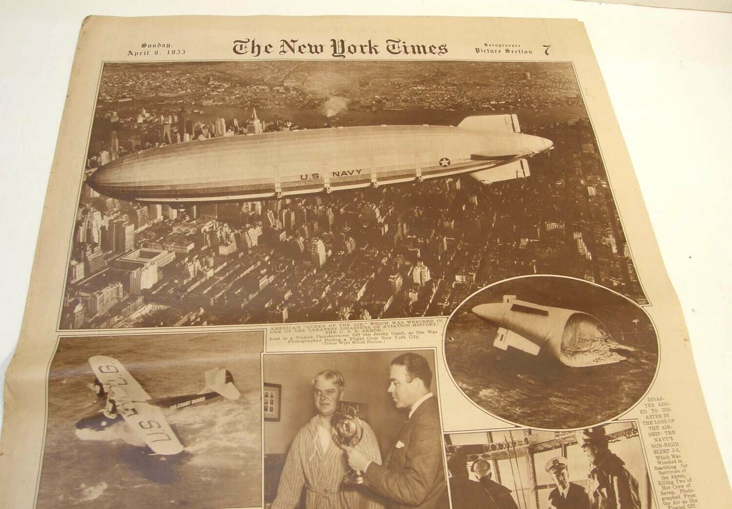 4/9 1933 NY TIMES ROTOGRAVURE PICTURE SECTION USS AKRON AIRSHIP DISASTER PHOTOS