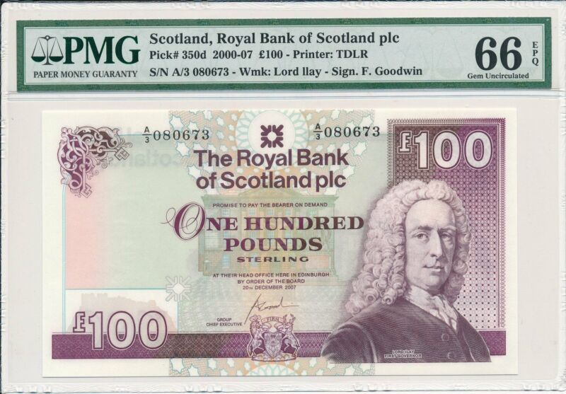 Royal Bank of Scotland Scotland  100 Pounds 2007  PMG  66EPQ