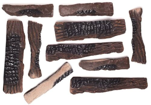 10 Large Pieces Ceramic Wood Logs for All Types of Gas Fireplace or Gas firepit