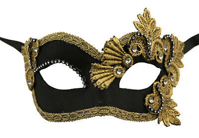 Mask from Venice Colombine Macrame Rhinestone Black Golden Satin Paper Mache
