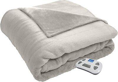 Serta Silky Plush Electric Heated Warming Blanket Twin Ivory