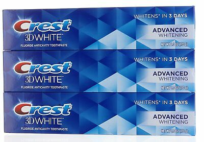 3X Crest 3D White Advanced Whitening Fluoride Anticavity Toothpaste 6 oz (Crest Whitening Fluoride Anticavity Toothpaste)