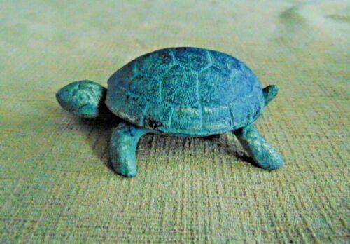 Cast Iron Turtle Tortoise Figurine Shabby Nautical Garden Pond Green Antiqued