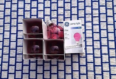 Box of 4} GE transparent PINK 25 watt A19 PARTY incandescent