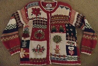 Vintage Womens UGLY CHRISTMAS SWEATER CARDIGAN Medium Prize Winner - Ugly Sweater Prizes