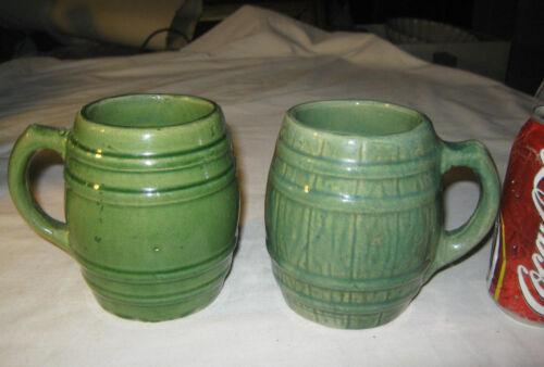 ANTIQUE MCCOY HULL USA COUNTRY KITCHEN STONEWARE COFFEE TEA MATTE GREEN KEG MUG