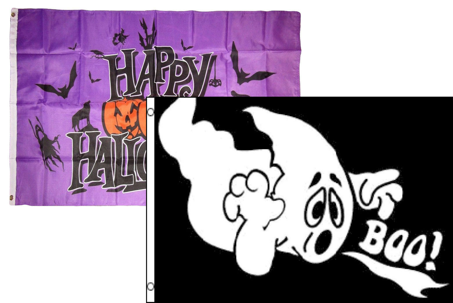 3x5 Happy Halloween 2 Pack Flag Wholesale Set Combo #28 3'x5
