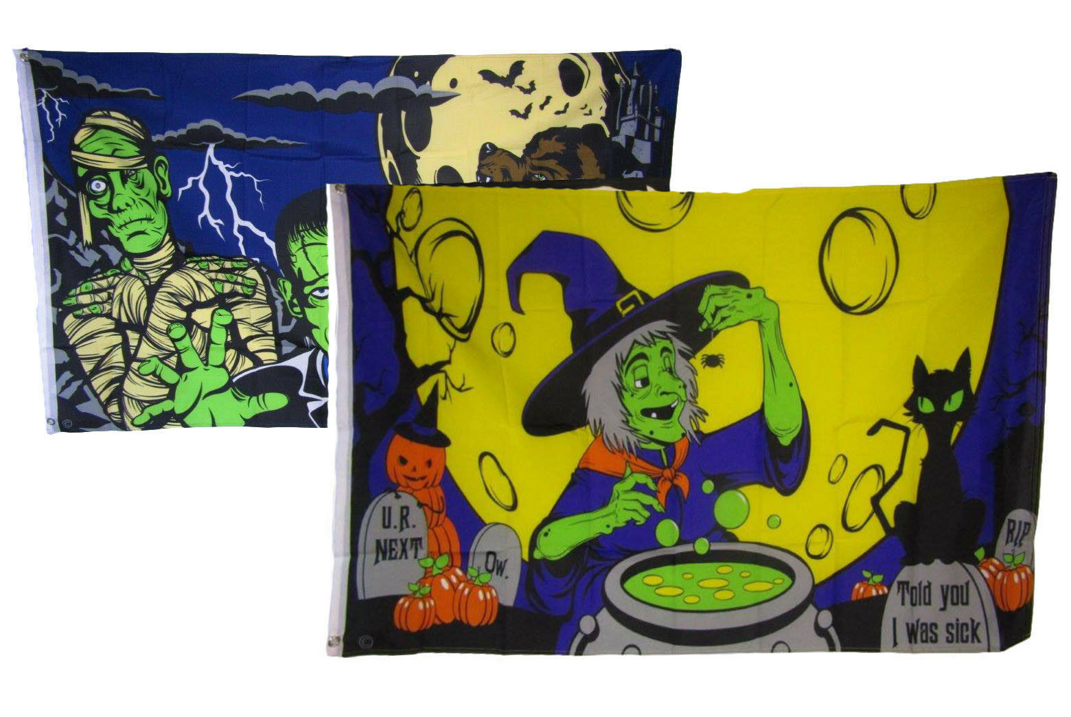 3x5 Happy Halloween 2 Pack Flag Wholesale Set Combo #11 3'x5