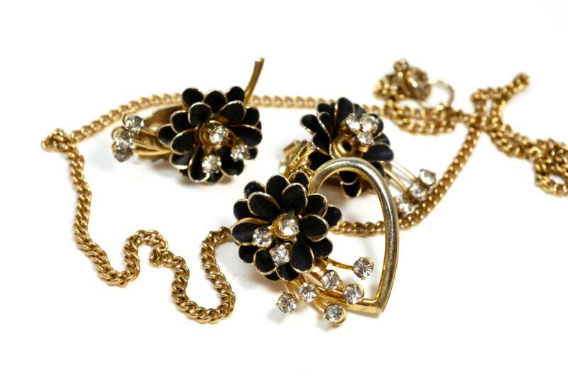 Art Deco Necklace Earrings Jewelry Set Black Enamel Clear Crystal Rhinestone *