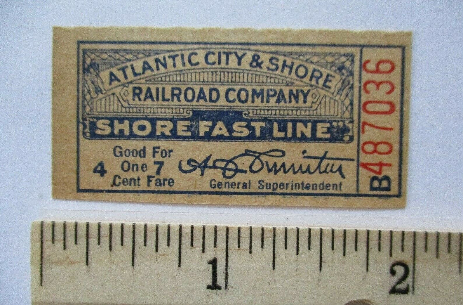 1930s? Atlantic City and Shore Railroad Fast Line Trolley Ticket New Jersey NJ