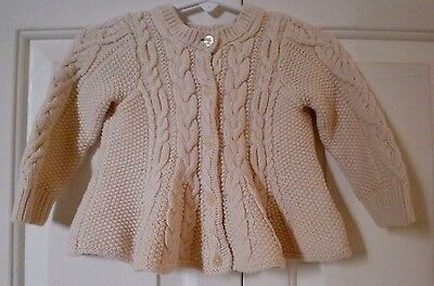 Baby Gap 6 12 Month Sweater Beige Cable Knit Long Sleeve Cardigan Pre-owned