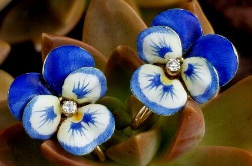 Antique A. J. Hedges Art Nouveau 14K Gold Diamond Enamel Pansy Flower Earrings