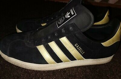 Adidas Originals Gazelle OG Vintage Deadstock Black Gold UK 10 Mens 80s casuals