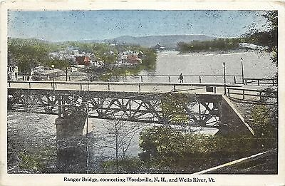 Vintage Postcard Ranger Bridge Connecting Woodsville Nh And Wells River Vt