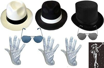 NEW DELUXE MICHAEL JACKSON & GLOVE GANGSTER RINGMASTER LINCOLN HAT FANCY (Michael Jackson Kostüm Accessoires)