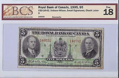 Royal Bank Of Canada 1935   5 Bill  B12