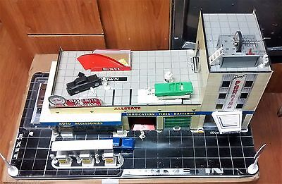 Marx Tin Toy Gas / Service Station 1960's Large Rare Set with electric elevator