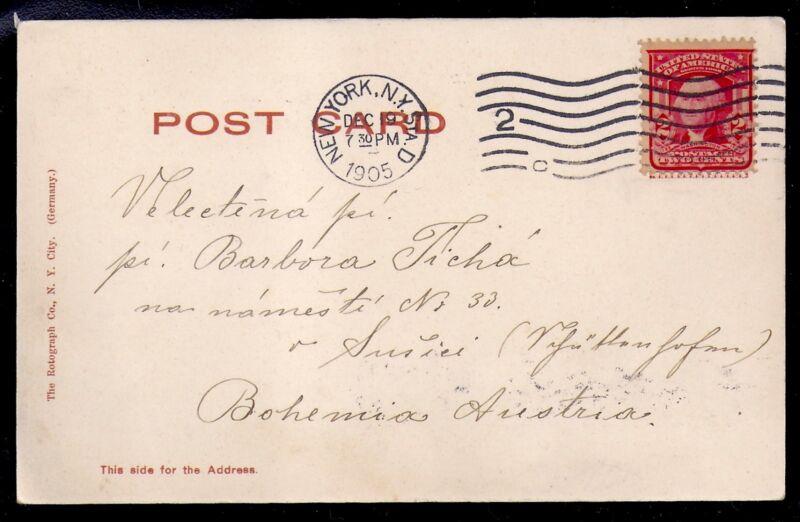 1905 Grant's Tomb Glitter Postcard - New York to Bohemia, Austria
