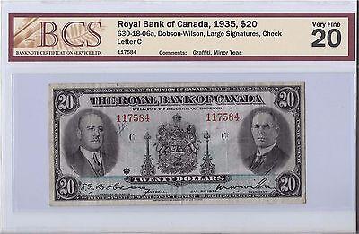 Royal Bank Of Canada 1935   20 Bill B16