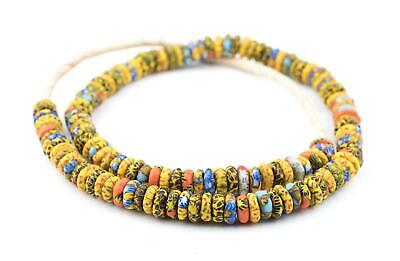 Kumasi Medley Fused Rondelle Recycled Glass Beads 11mm Ghana African Multicolor
