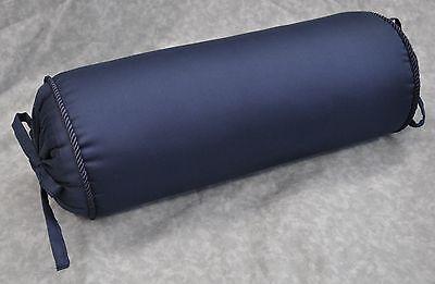 Corded Bolster Neck Roll Pillow made w Ralph Lauren Navy Blue Cotton Fabric