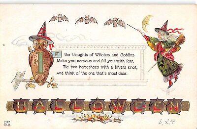 1914 Witch Owl Bats Halloween post card Nash](1914 Halloween)