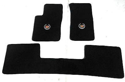 Cadillac SRX Black Carpet Floor Mats 3 Pc-Cadillac Crest Logo-fits 2004-2009 AWD Cadillac Srx All Wheel Drive