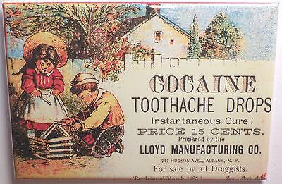 "Cocaine Toothache Drops Magnet 2""x3"" Refrigerator Locker Promotion Retro"