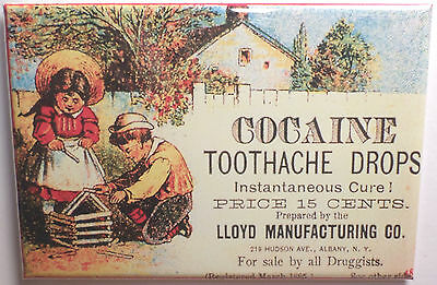 "Cocaine Toothache Drops Magnet 2""x3"" Refrigerator Locker Adv"