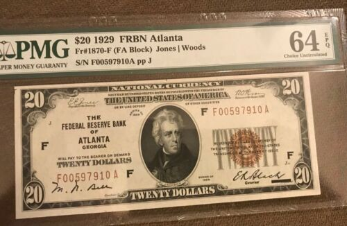 1929  $20 Atlanta federal reserve bank note  , Choice uncirculated PMG 64 EPQ