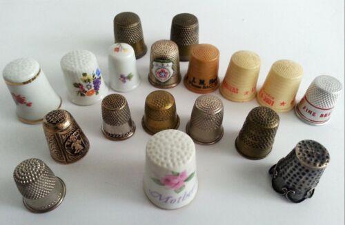 Thimble Lot Advertising Ceramic Plastic Limoges Hollohaza Sterling 925 18 Vtg